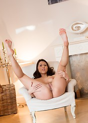 Playful Ann Strips And Spreads On A Sunny Sofa - Picture 15